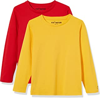 Kid Nation Kids 2 Pack Solid and Stripe Long Sleeve Crew Neck T-Shirts