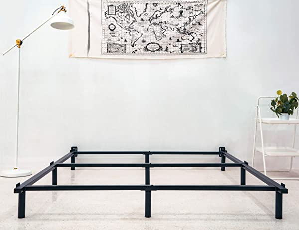 Zizin King Size Bed Frame For Box Spring Metal Heavy Duty 7 Inch Adjustable Beds Frames 9 Legs Suppout Sturdy Mattress Foundation With Headboard Brackets King
