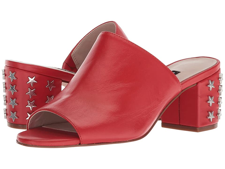 Nine West Fierceness Slide Block Heel (Red/Off-White Leather) Women