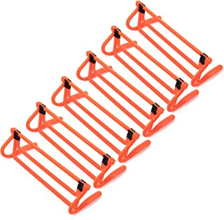 6-Pack of Agility Hurdles with Adjustable Height Extenders – Neon Orange Set & Carry Bag – Plyometric Fitness & Speed Trai...