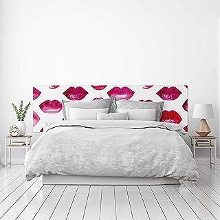 MEGADECOR Cabecero Cama PVC Decorativo Económico Diseño de Labios Rojos Acuarela Varias Medidas (150 cm x 60 cm)
