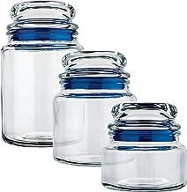 Conjunto Potes de Vidro Multiuso 3 Peças Euro Azul