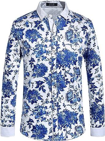 SSLR Camisa Estampado Cachemir Floral Manga Larga de Algodón de Hombre