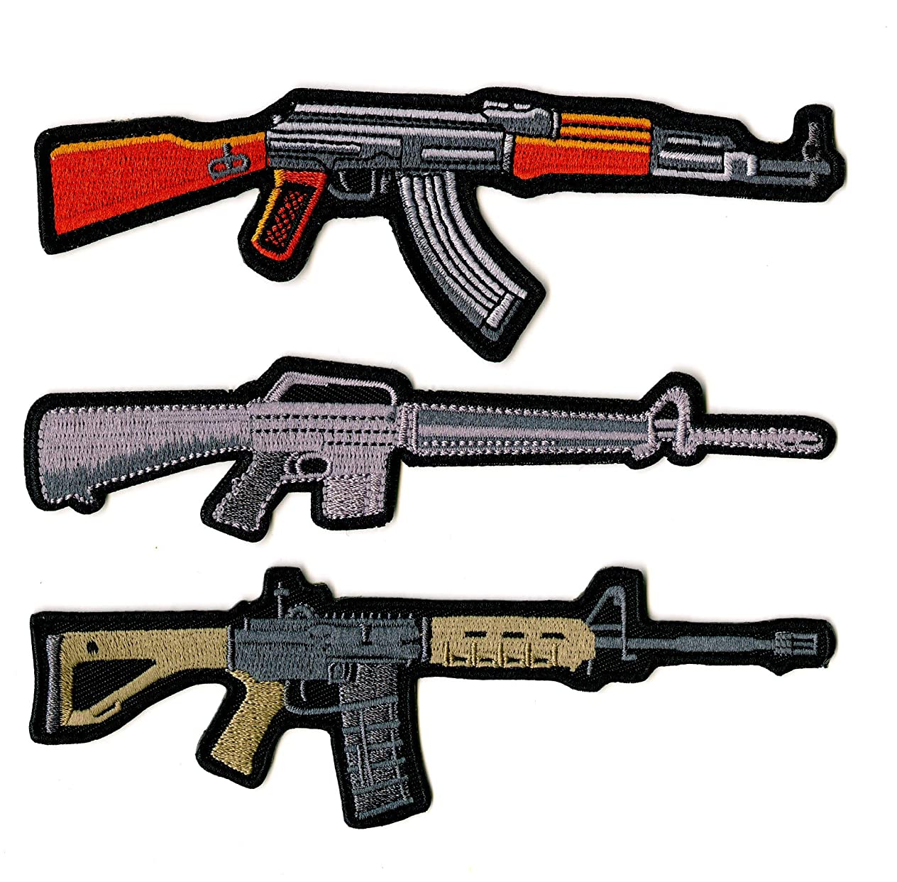 Assault Rifles Guns Military Patches   Embroidered Patch 3 pc. Set (4.5