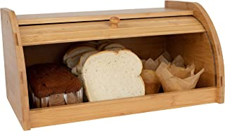 Olivia & Aiden Rolltop Bread Box (Large) Countertop Storage | Natural Bamboo Wood | Vintage Farmhouse Country Style Boxes | Multipurpose Organizer w/Smooth Slide Lid