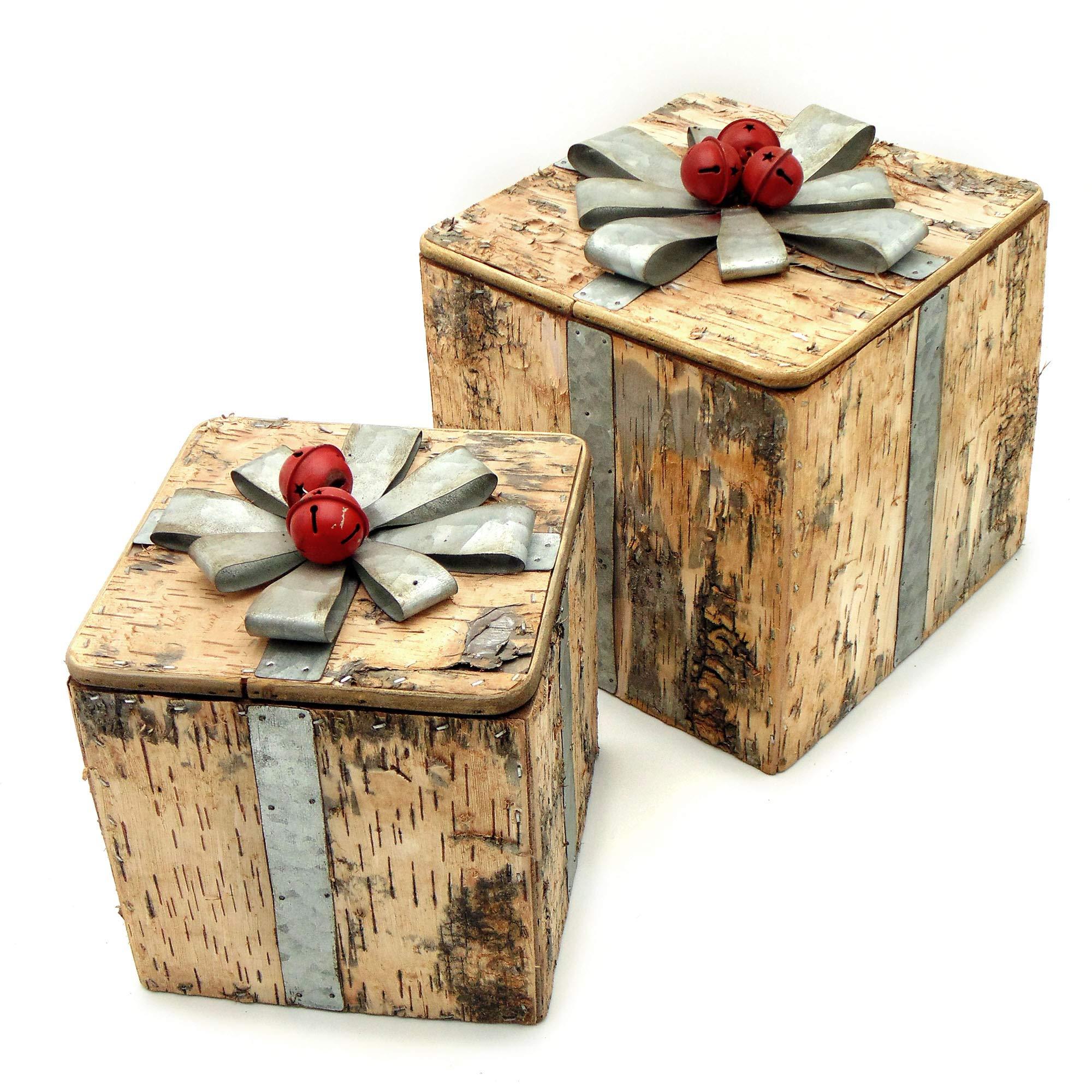 Angelica Home & Country Caja Decorativa para árbol de Navidad, Decoración de Navidad, Decoración Navideña, Decoración para árbol de Navidad Vintage Navidad - Arco - 21x21 Madera/Metal: Amazon.es: Hogar