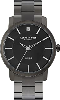 Kenneth Cole New York Men's Quartz Stainless Steel Case Leather Strap Black Casual, (Model:KC15114005)