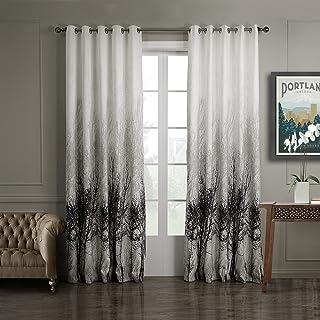 GWELL 1 Pc Rideaux De Fenêtre Occultant Jacquard Drapé Avec Oeillets Solide  En Polyester Salon Chambre