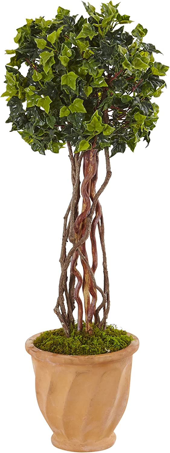 Nearly Natural 3' English Ivy Artificial Tree in Terracotta Pot, Green