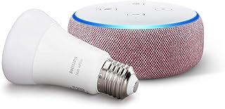 Echo Dot (3ª generazione, tessuto malva) + Philips Hue White Lampadina LED Connessa, Attacco E27, Dimmerabile, Luce Bianca...