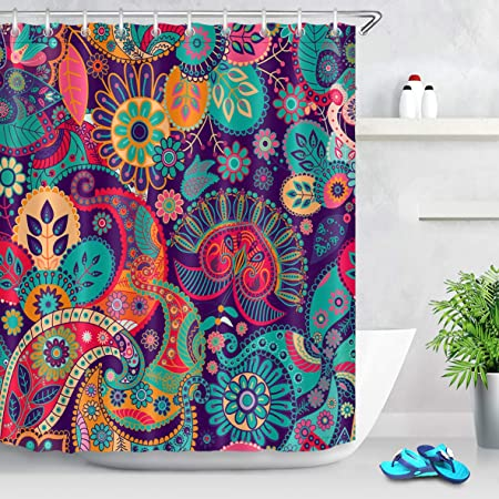 Lb Indian Mandala Paisley Shower Curtain Hippie Style Colorful Tribal Floral Peace Sign Curtains For Bohemian Bathroom Set With 12 Hooks Waterproof Fabric 72x72 Inch Home Kitchen