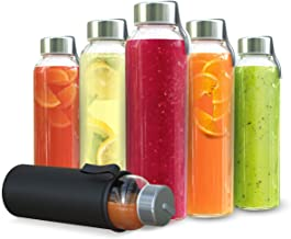 Chef's Star Clear Glass Water Bottle 18 oz Bottles For Fresh Juice & Beverages Storage, Stainless Steel Leak proof Caps with Carrying Loop, Individual Protection Sleeve Included 6 pack