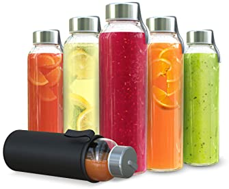 Chef's Star Clear Glass Water Bottle 18 oz Bottles For Fresh Juice & Beverages Storage, Stainless Steel Leak proof Ca...