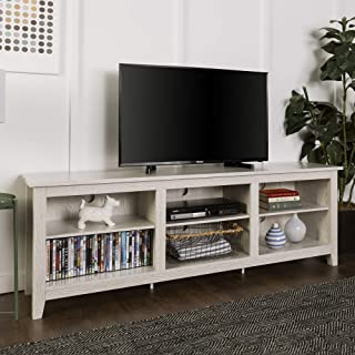 WE Furniture AZ70CSPWW Minimal Farmhouse Wood TV Stand for TV's up to 78