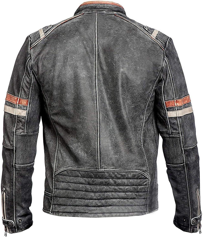 UGFashions Cafe Racer Jacket Mens Retro 2 Distressed Motorcycle Biker Black Leather Jacket