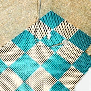 QD-SGMP お風呂マット 滑り止め バスマット 防カビ 浴室マット すのこ 洗い場マット 浴槽マット 大判 転倒防止 介護用 6枚(ホウイト+ブルー)