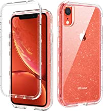 DOMAVER iPhone XR Cases, iPhone XR Case Clear Three Layer Heavy Duty Hybrid Hard PC Flexible TPU Bumper Shockproof Phone Case Cover Transparency iPhone XR Protective Case with Glitter Bling Design
