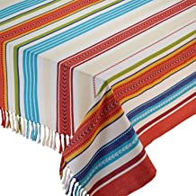DII Design Imports Baja Striped Fringed Kitchen Tablecloth