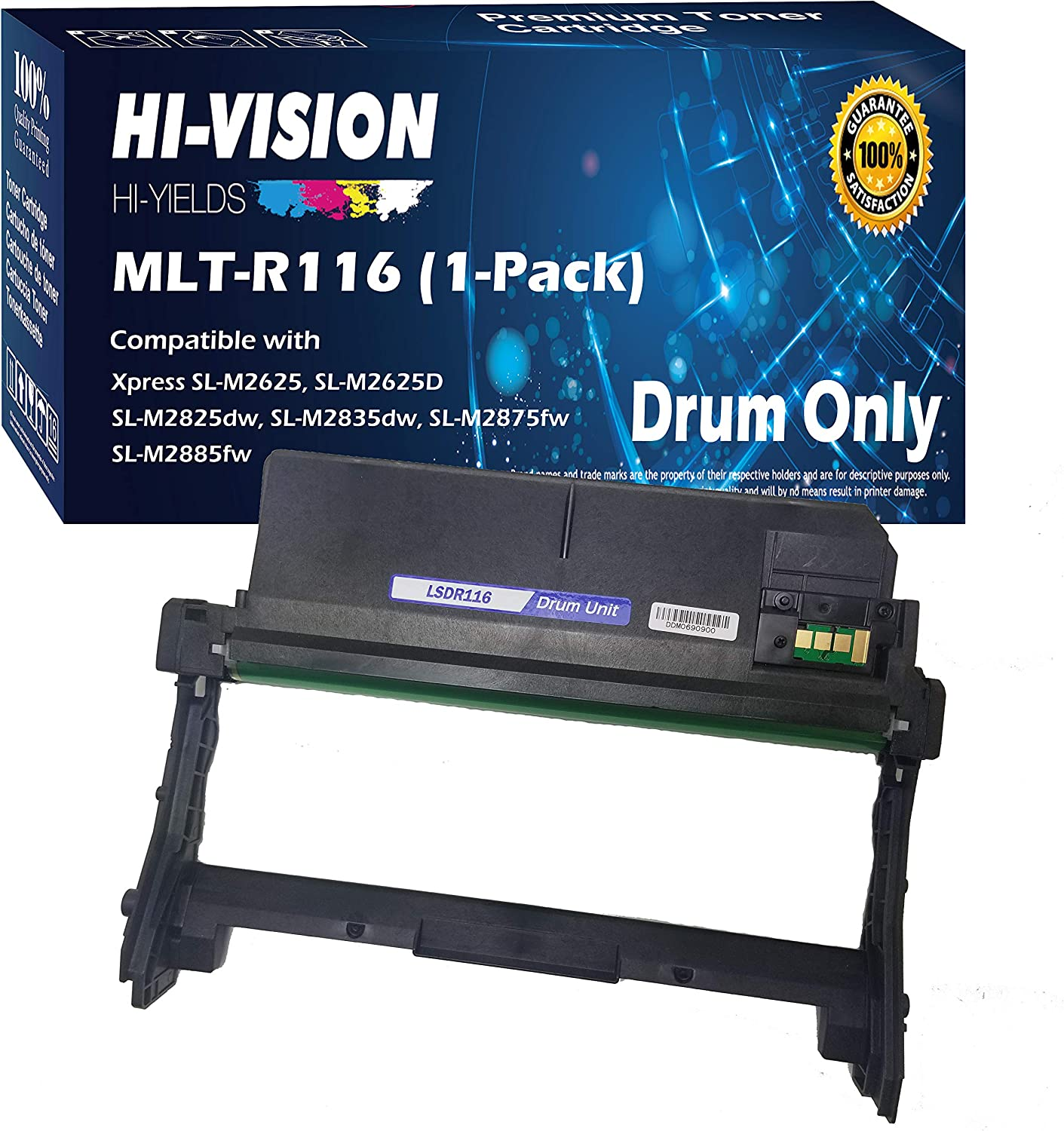 HI-VISION HI-YIELDS Compatible MLT-R116 Drum Unit Replacement for Samsung MLTR116 R116 use with Xpress SL-M2835DW M2885FW M2875FW M2825DW M2625 M2625D M2626D M2676N M2836 (1x Drum Unit, 1-Pack)