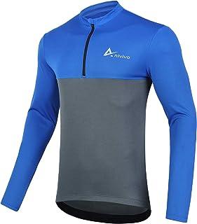 ANIVIVO Men Bike Jersey Long Sleeves with Pockets,Cycling Shirts for Men 1/2 Zipper