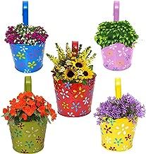 Gadgets Appliances Wonderful Colour Flower Design, Railing Planter, Flower Pot, Wall Planter, Metal Planter, Balcony, Garden Planter Basket Multicolour (Set of 5)
