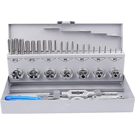 Juego de herramientas para roscar HSSG métrica | M3-M12 | 32 piezas | machos, terrajas y porteherramientas