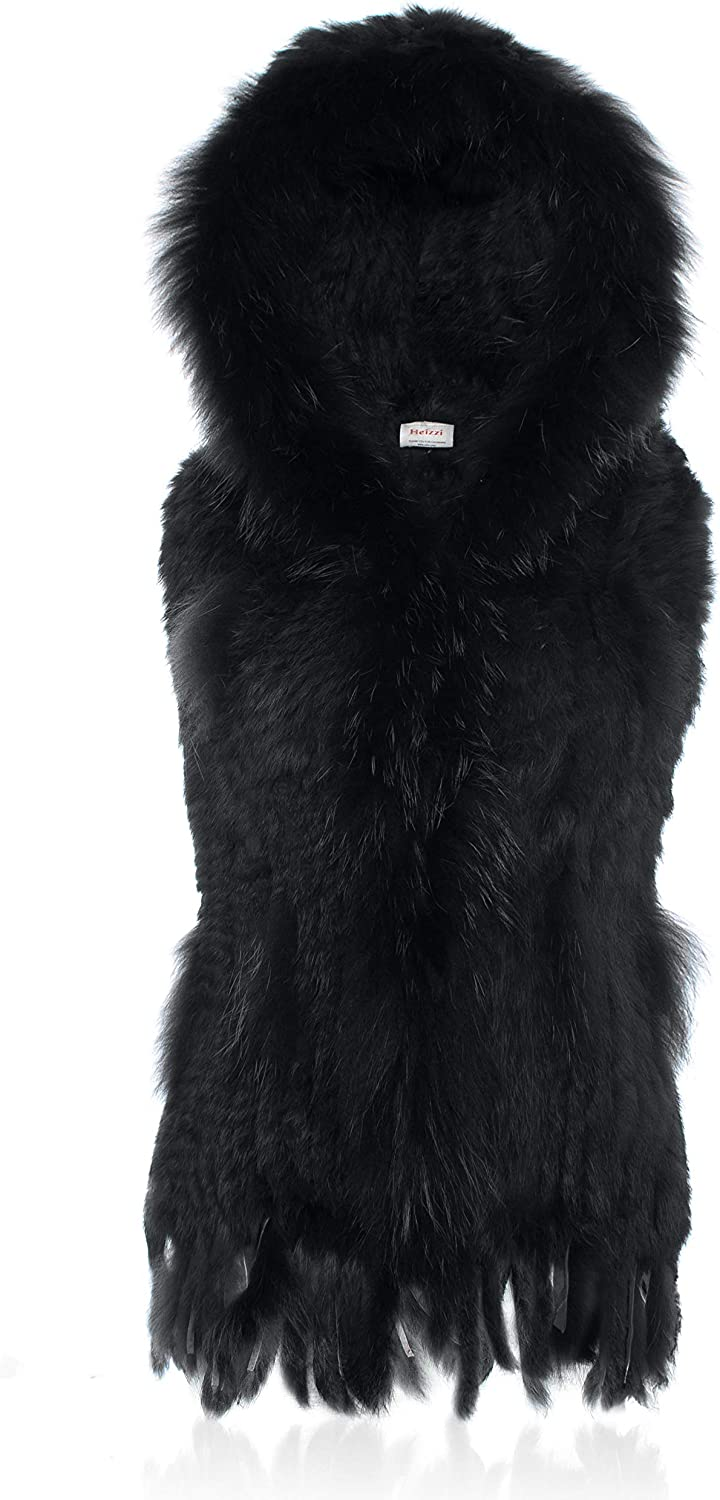HEIZZI Hooded Knitted Rabbit Fur Vest Thick Warm Soft