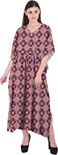 RADANYA Geometric Loose Long Maxi Dress Cotton Kaftan Caftans for Women