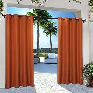 Exclusive Home Curtains Indoor/Outdoor Solid Cabana Grommet Top Curtain Panel Pair, 54x96, Mecca Orange, 2 Count