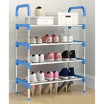 MemeHo® Shoe Rack Organizer/Metal Standing Shoe Rack/Shoe Cabinet Stand/Shoe case for Home Furniture (Color_Blue, 4shelf)