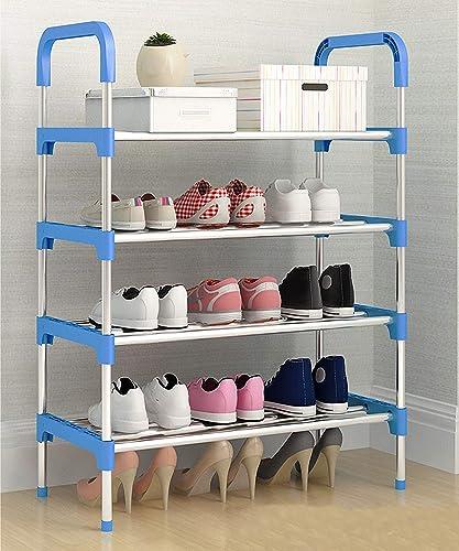 MemeHo Shoe Rack Organizer Metal Standing Shoe Rack Shoe Cabinet Stand Shoe case for Home Furniture Color Blue 4shelf