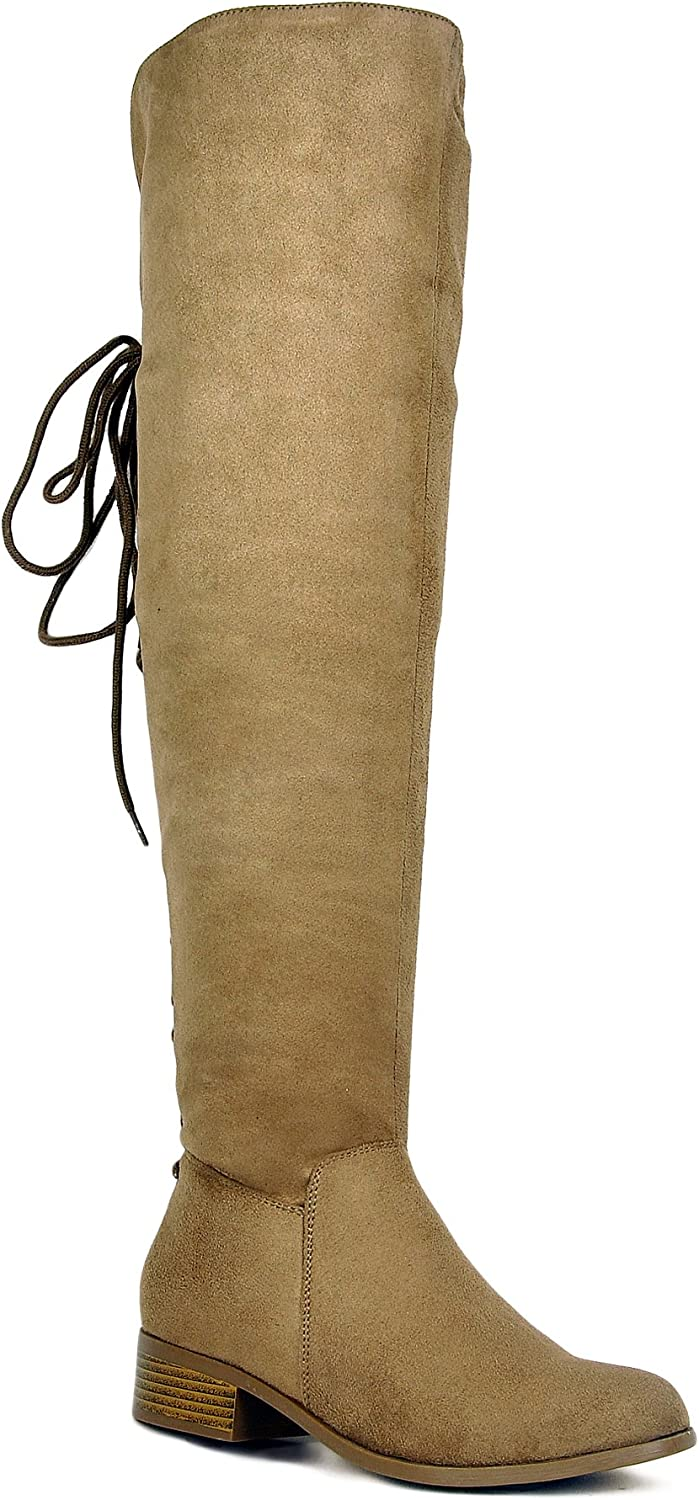Westcoast Women's Over The Knee Boots Back Corset Lace Up Fold Cuff Back Tie Flat Knee High Dress Riding Boots Taupe 11