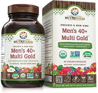 NUTRIGOLD Men's 40+ MULTIVITAMIN 90cap (Organic, nonGMO, wholefood Vitamins and Minerals from Real Fruits, Vegetables, and Herbs. Now Includes Astaxanthin