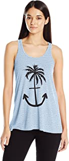 Clementine Women's Ladies' Anchor Palm Design Printed Flowy Racerback Tank