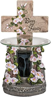 Bless Our Family Cross Inspirational Resin Stoneware Electric Oil/Wax Warmer with Dimmer