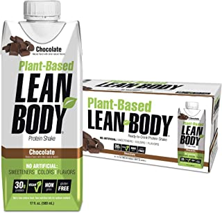Lean Body Ready-to-Drink, Plant-Based Vegan Chocolate Protein Shake, 30g Protein, No Artificial Flavors, Sweeteners or Col...