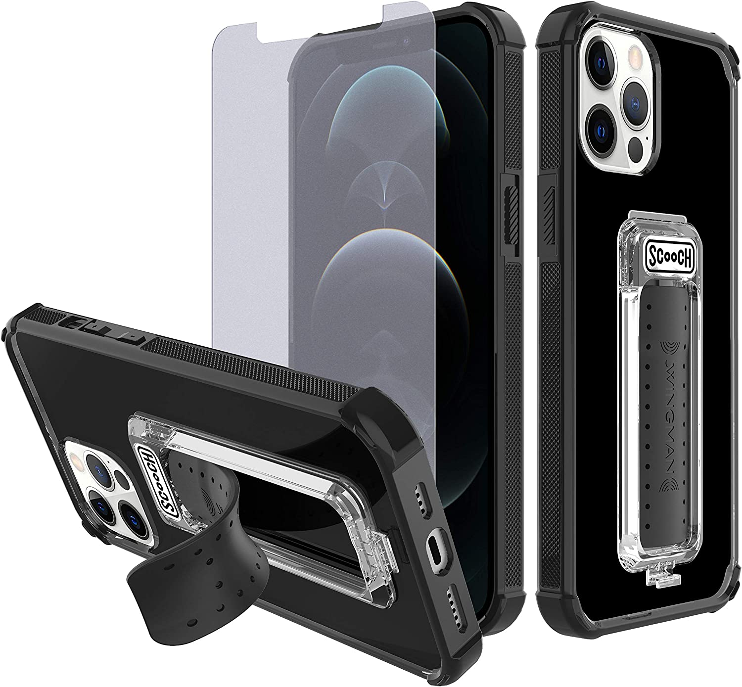 Scooch Wingman Kickstand Case Compatible with iPhone 12 Pro Max Case [10 ft Drop Protection] [Two-Way Stand] Protective Cover with $200 Oath Tempered Glass Screen Protector (Black)