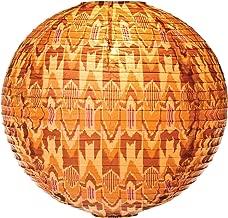 Cultural Intrigue Luna Bazaar Ikat Print Designer Paper Lantern (18-Inch, Flame Orange)