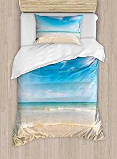 Ambesonne Ocean Duvet Cover Set, Sea and Sky Landscape at Beach in Tropical Exotic Hawaiian Caribbean Lands, Decorative 2 Piece Bedding Set with 1 Pillow Sham, Twin Size, Cream Blue