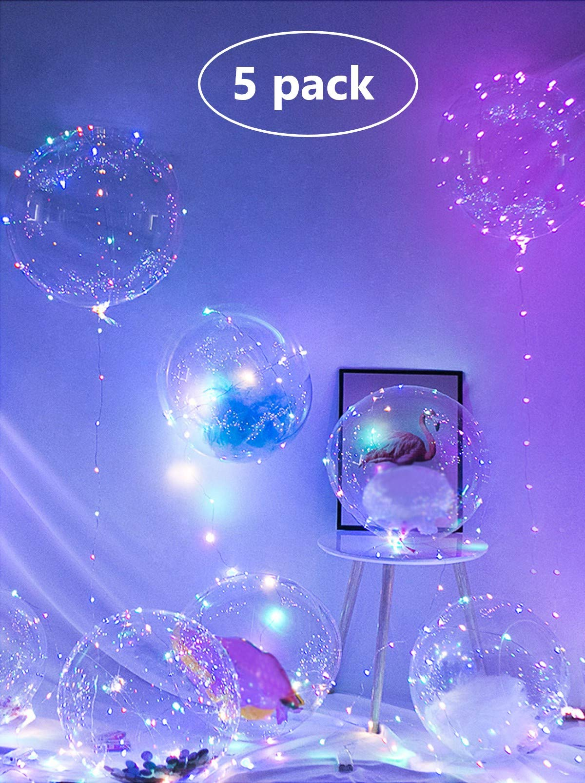 15 Pcs Pre Stretched 20 Inch Transparent Bubble BoBo Balloons LED Light up Balloons EFAY Clear Bobo Balloons