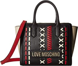 49c64e5bfb6 LOVE Moschino. Super Heart Sneaker.  250.00. Luxury. Black Red Ivory
