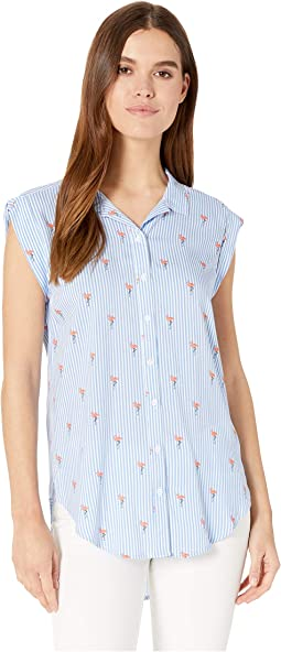 Cap Sleeve High-Low Button Down Shirt