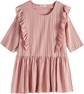 CupofSweet Girls Ruffled Front Cropped Sleeves Denim Dress