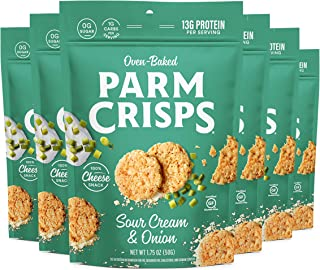 ParmCrisps Sour Cream & Onion, 1.75 Ounce (Pack of 6), Keto Snacks, 100% Cheese Crisps, Gluten Free, Sugar Free, Keto-Frie...