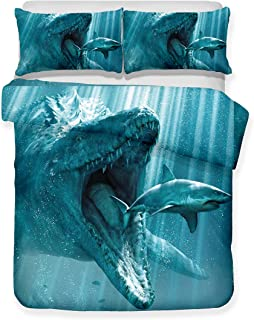 Damara Ferocious Shark Series 3D Bedding Set Print Duvet Cover Set Lifelike Bed Sheet #01 (13, Twin)