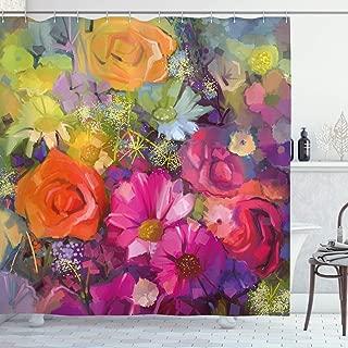 "72x72/""Pink Daisy Flower Bathroom Decor Polyester Fabric Shower Curtain Hooks Set"