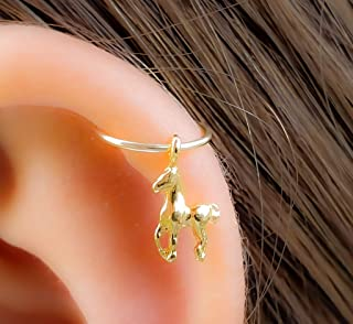 Tiny Horse Cartilage Earring 14k Gold Filled Earring, Horse Helix Hoop piercing colt, foal Jewelry
