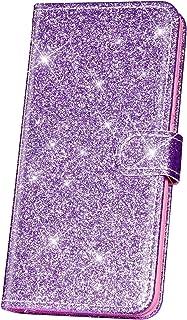 JAWSEU Fodral bling glitter kompatibelt med Huawei P10 Lite, premium PU-läder plånbok flip helkropp stående fodral fram oc...