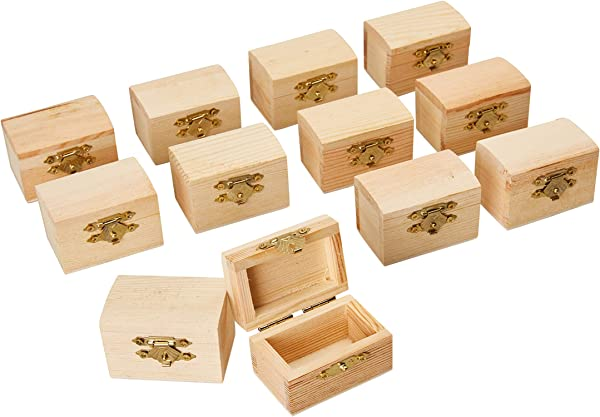 Juvale Unfinished Wood Treasure Chest 12 Pack Wooden Treasure Boxes With Locking Clasp Mini Treasure Chest For Party Favors DIY Projects Home Decor Props 2 3 X 1 5 X 1 5 Inches