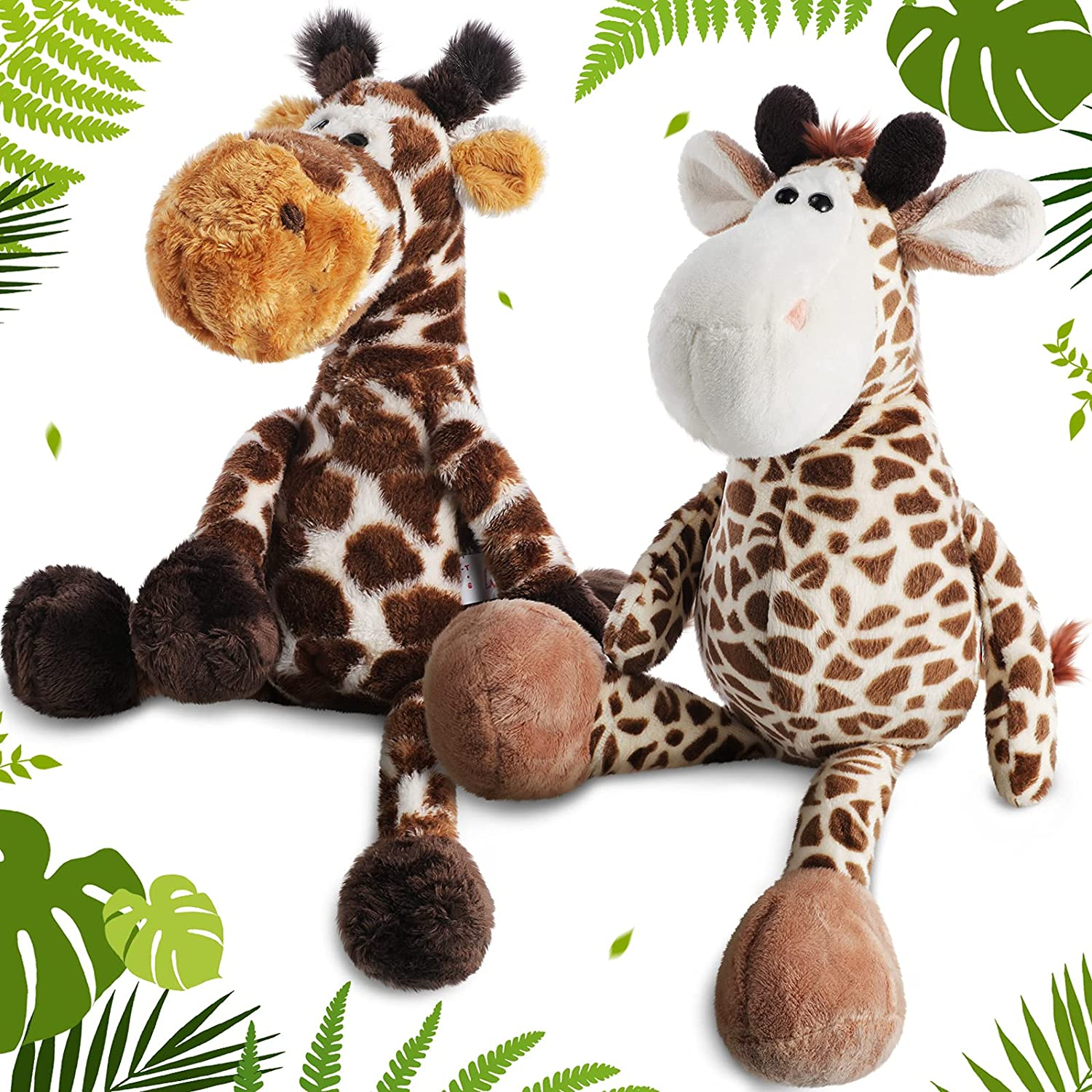 2 Pieces Forest Animals Giraffe Plush Toy 12 Inch Giraffe Plush Stuffed Animals Cute Soft Plush Giraffe Stuffed Toy for Birthday Thanksgiving Valentine's Day Office Home